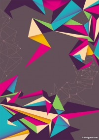 Colorful origami background vector material