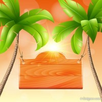 Summer recreation palm listing vector material 01
