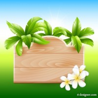 Summer recreation palm listing vector material 02