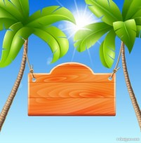 Summer recreation palm vector material listed