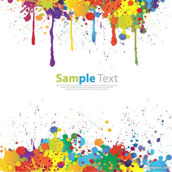 4 designer colorful inkjet text template vector material effect