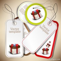 Concise style gift card chip label vector material 01