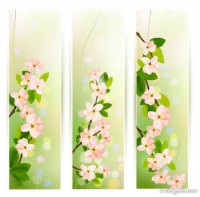 Creative zipper style spring floral text template vector material 03