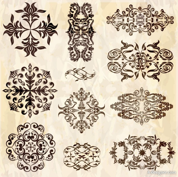 European floral patterns vector material