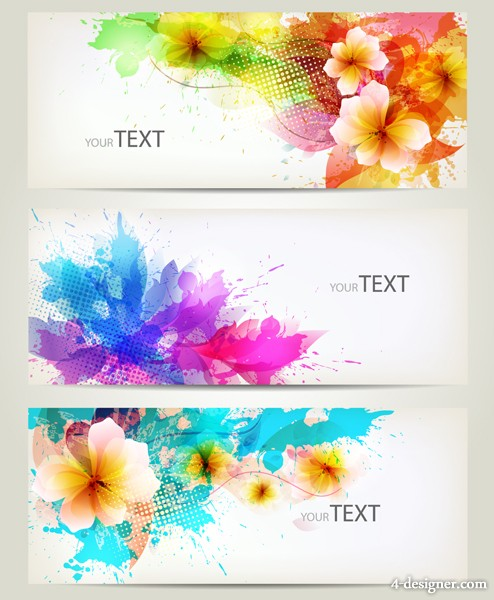 Floral card banner template design trend vector material 04
