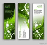 Green floral banner template vector material
