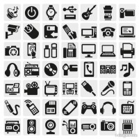 Common black and white icon set 01 vector material