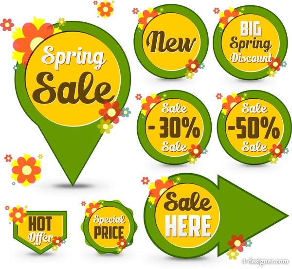 Creative spring selling icon label vector material 01