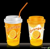 Cup of juice packaging design template vector material 01