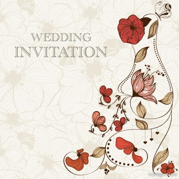 4 Designer Hand Drawn Cartoon Wedding Invitation Card
