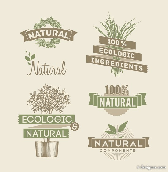 Retro style label vector material 01 natural elements