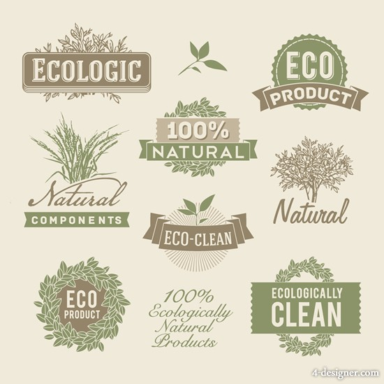 Retro style label vector material 02 natural elements