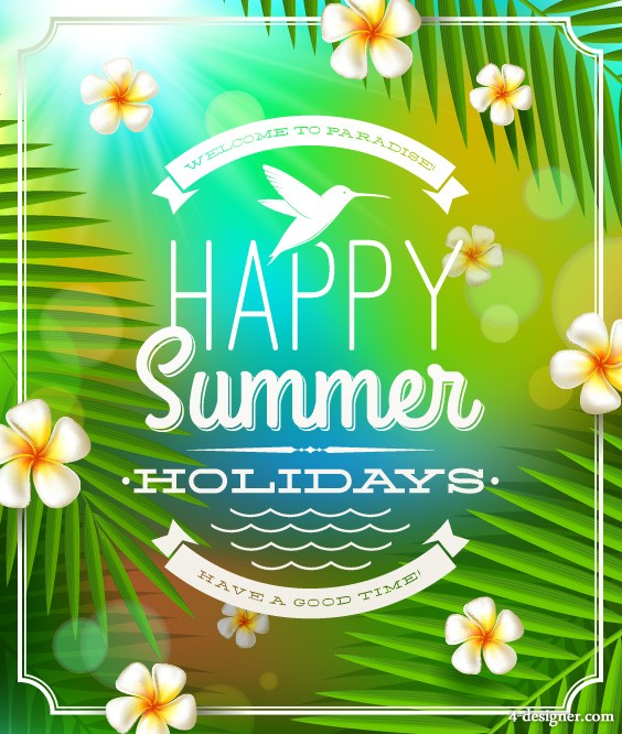 Beautiful summer background 04 vector material