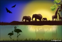 Cartoon animal silhouettes Landscape vector material