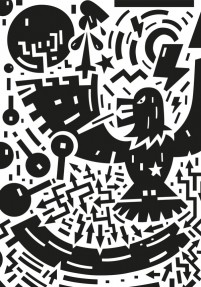 Cartoon black and white abstract pattern vector material 10