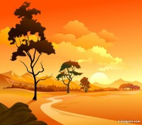 Cartoon landscape 03 vector material