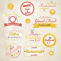 Cartoon style restaurant label design vector material