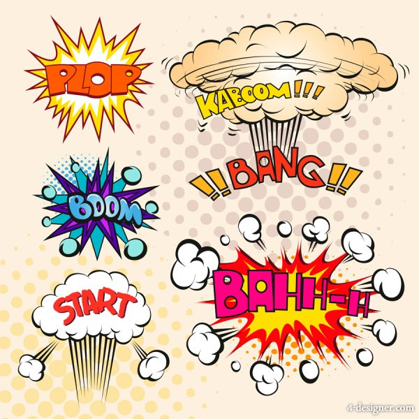Comic Explosion Box 09 vector material