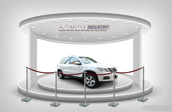 Creative car show exhibition design template PSD layered material 02