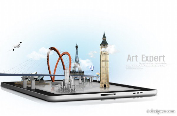 Creative tablet architectural design PSD layered material