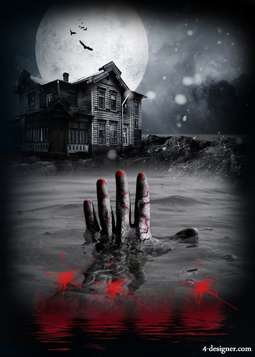 Horror house scene design template PSD layered material