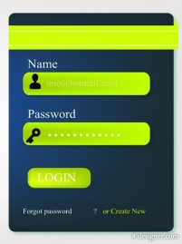 Login box application interface design vector material