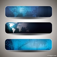 Modern technology banner template background vector material 01