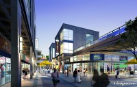 Modern urban commercial center architectural renderings PSD layered material