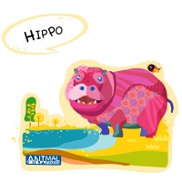Painted cartoon hippo vector material