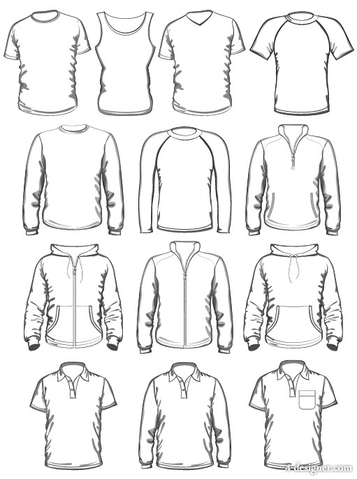 4 designer 3d clothing template 04 vector material