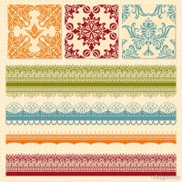 European classic lace pattern vector material 05