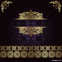 European gold lace pattern vector material 01