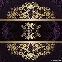 European gold lace pattern vector material 03