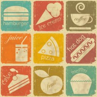 Retro food labels vector material