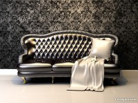 Sofa with floral wallpaper HD picture
