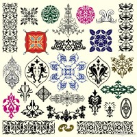 Traditional pattern border 05 vector material