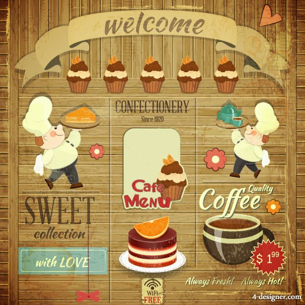 Vintage Food Posters 03 vector material