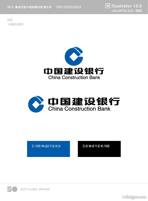 2013 Top 50 Chinese brands logo source files 002 China Construction Bank