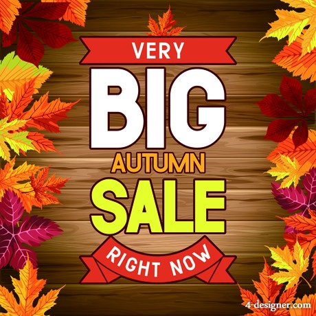 Fall promotional posters vector material