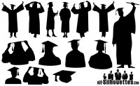 Graduation figures silhouette vector material