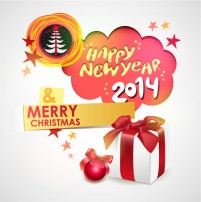 Happy New Year 2014 illustrator vector material