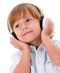 Little boy with headphones HD pictures