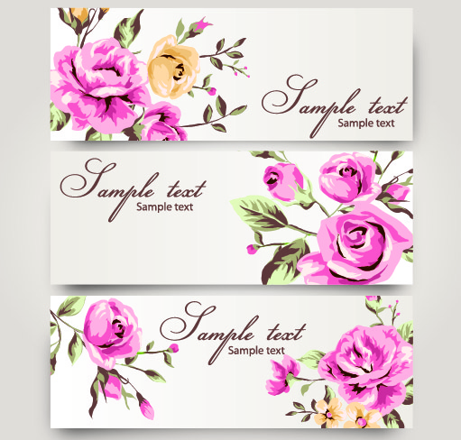 Rose flowers hand painted banner Banner