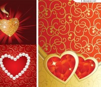 3 Valentine s Day heart shaped pattern vector material package