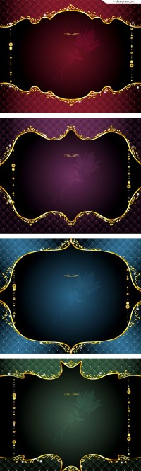4 exquisite classical style lace border vector material