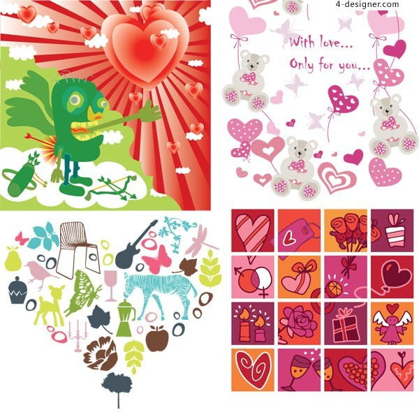 4 nature valentine vector material