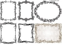 6 practical European style lace Vector material