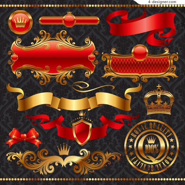 A set of ornate European style banner pattern vector material