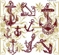 A variety of anchors and pattern background vector material