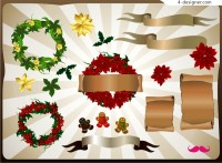 A variety of exquisite garlands and banner vector material